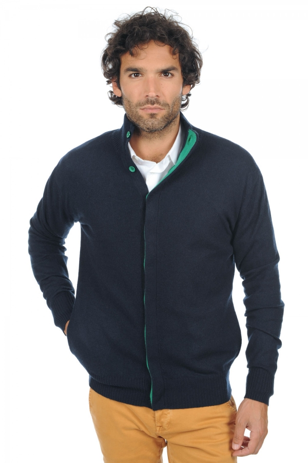 cashmere uomo cardigan e gilet jimmy blu notte verde inglese m