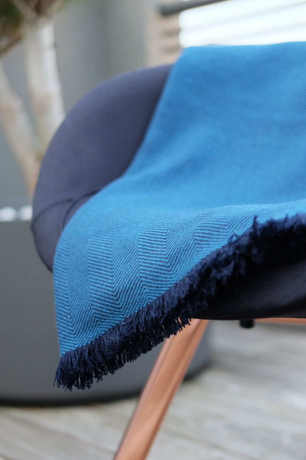 Cashmere accessori plaid erable blu 190 x 130 cm