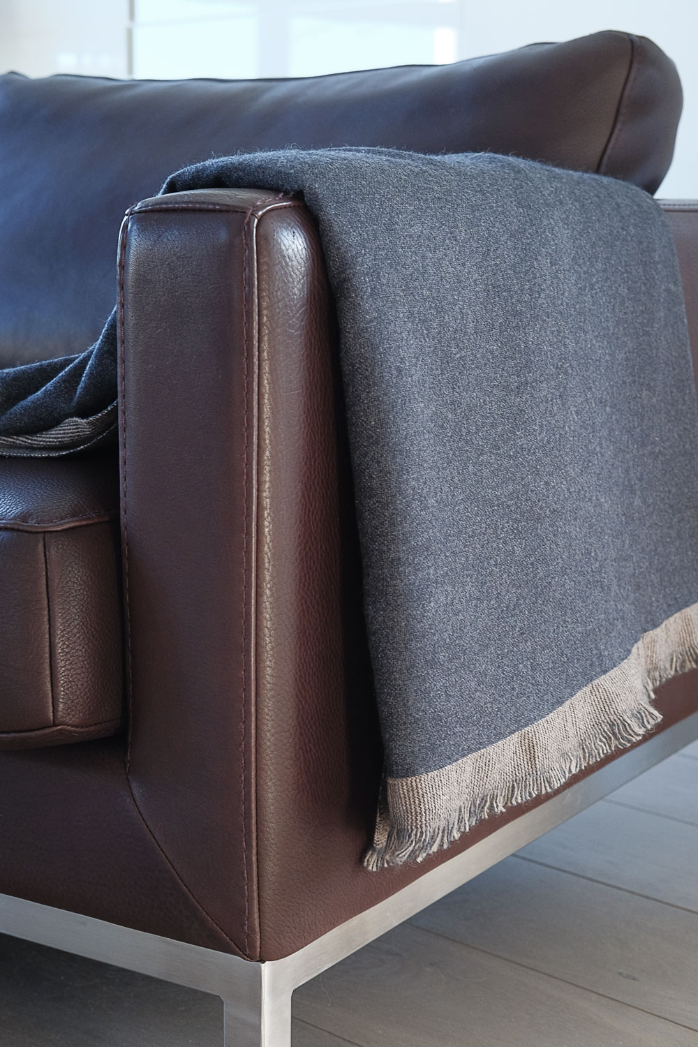 cashmere accessori plaid fougere antracite chine natural brown chine 190 x 130 cm