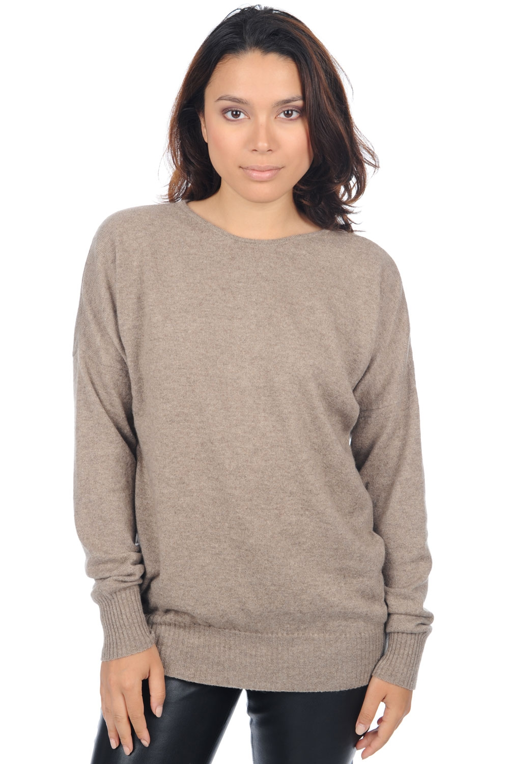 cashmere donna girocollo automn natural brown chine t1