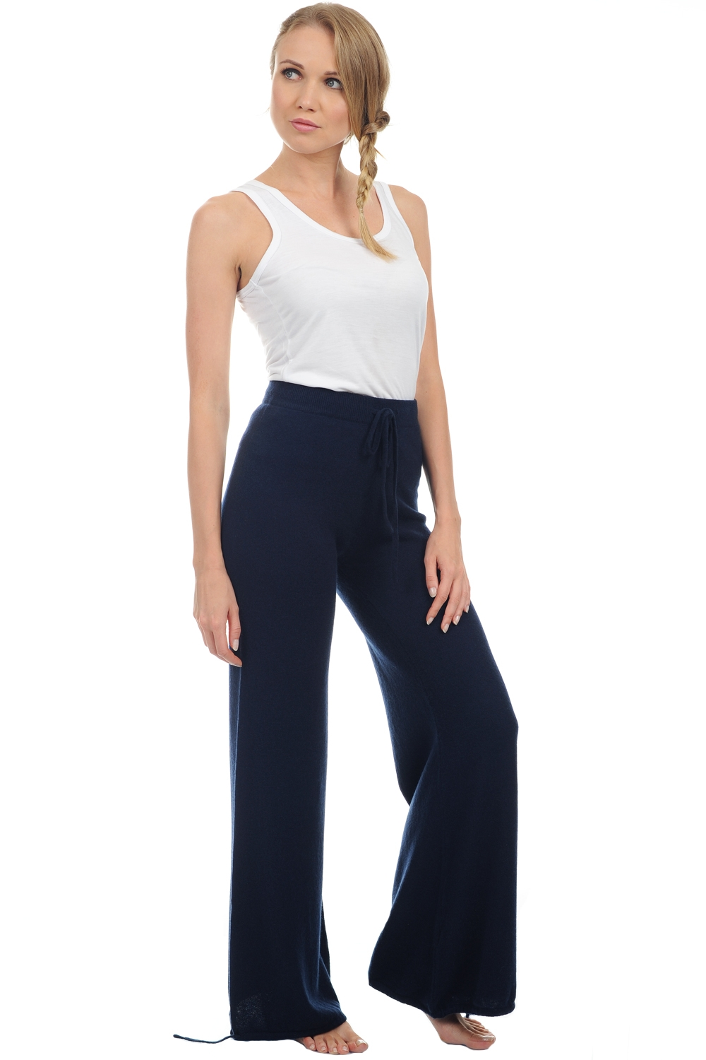 cashmere donna pantaloni  leggings heather blu notte xs