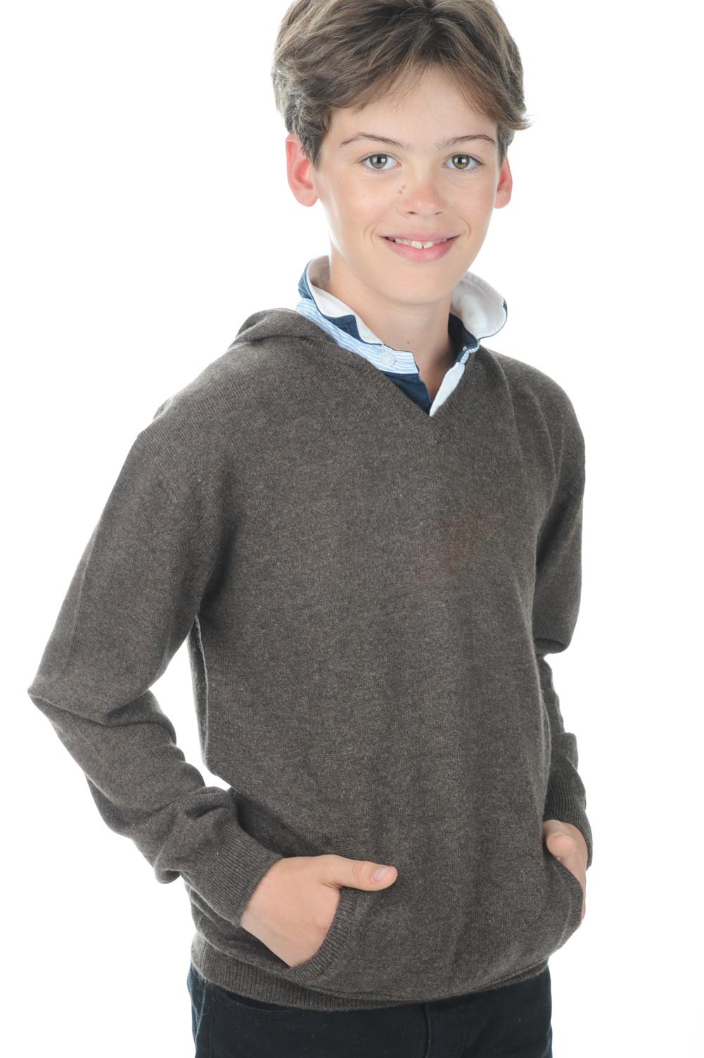 cashmere uomo scollo a v cloclo boy marrone chine 6